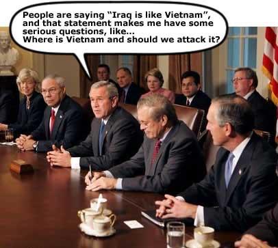 Bush and Vietnam and Iraq wars, cartoon