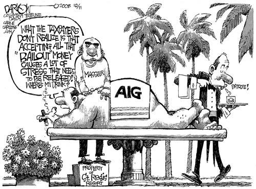 AIG scandal in the USA, cartoon