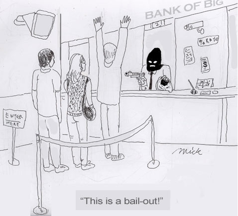 Bailing out banks in the USA, cartoon