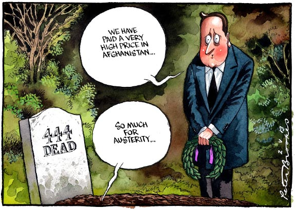 Cartoon on British economic and war policy