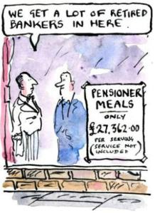 Bankers' pensions, cartoon from Britain
