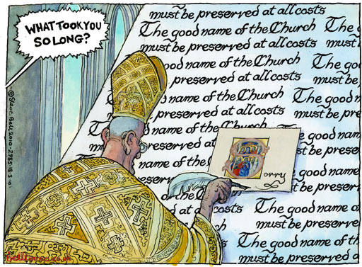 Roman Catholic clerical sexual abuse, cartoon by Steve Bell