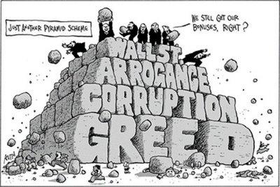 Wall Street and the US economic crisis, cartoon