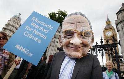 Anti Murdoch demonstrator