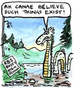 The Loch Ness monster on RBS boss' pension, cartoon