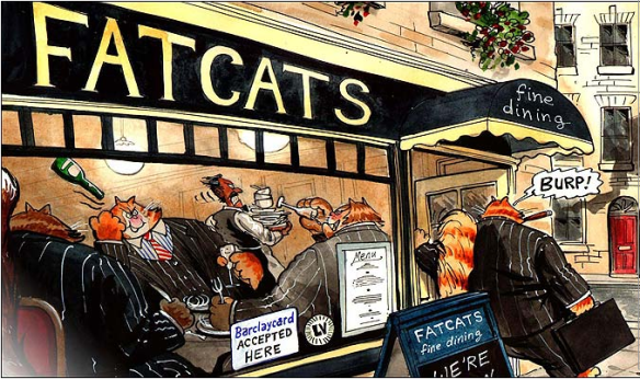 Banking fat cats, cartoon