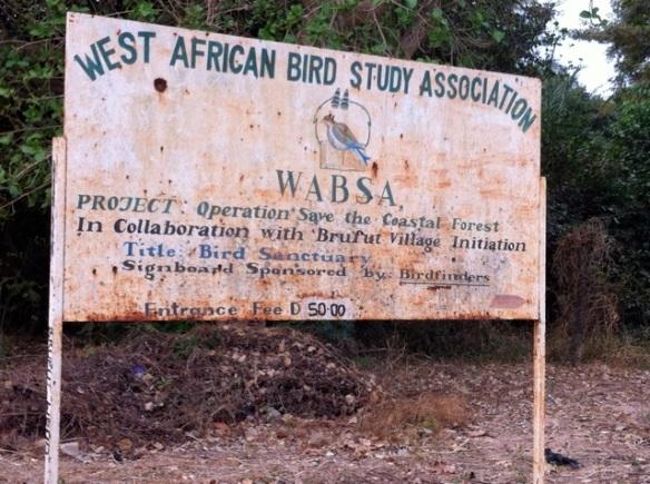 WABSA sign at Brufut Woods entrance