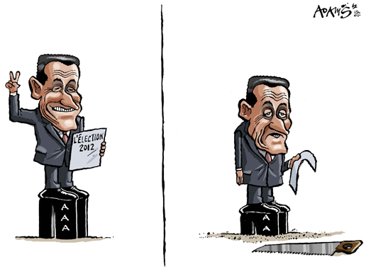 Sarkozy before and after French presidential elections, cartoon
