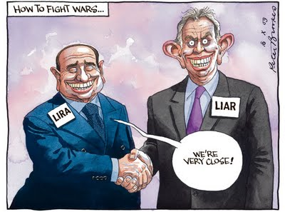 Berlusconi and Tony Blair, cartoon