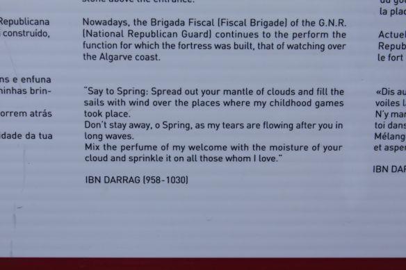 Poem by Ibn Darraj on spring, Cacela Velha, 11 April 2012