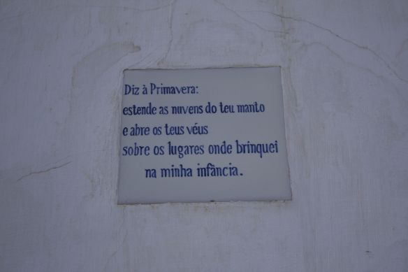 Poem by Ibn Darraj on spring,in Portuguese, Cacela Velha, 11 April 2012