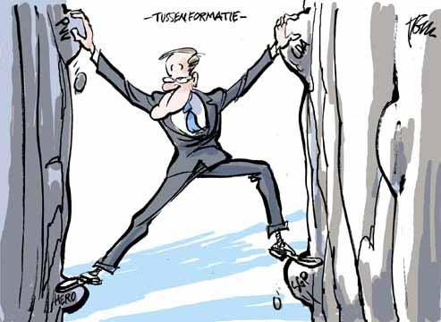 Dutch Rutte administration in trouble, cartoon by Tom Janssen