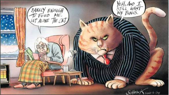 Pensioners' and fat cats' incomes, cartoon
