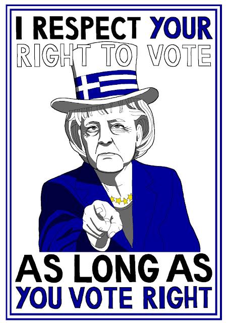 Ms Merkel despises democracy in Greece, cartoon by Gui Castro Felga