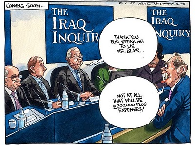Tony Blair at the Iraq war inquiry, cartoon
