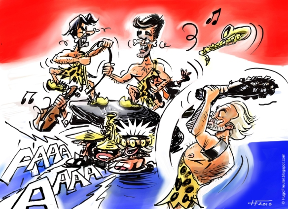 Dutch Rightist politicians Verhagen, Rutte, and Wilders quarreling and damaging the arts, cartoon by Hugo Freute