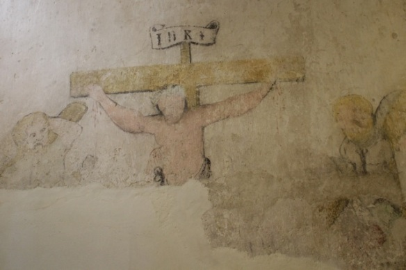 Gravensteen, Leiden, fresco of crucifixion of Jesus, 9 September 2012
