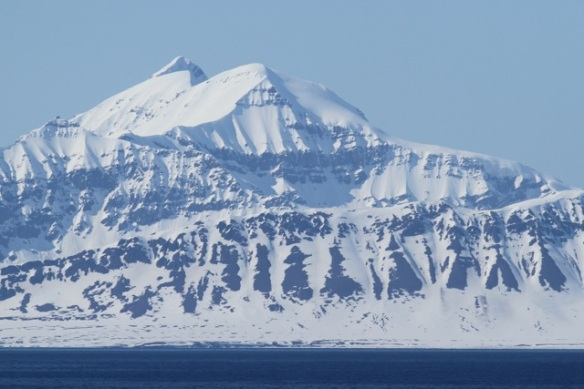 Snowy mountains across Isfjorden, Svalbard, 7 June 2013