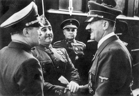 Right to left: Hitler, Eugenio Espinosa de los Monteros, Franco