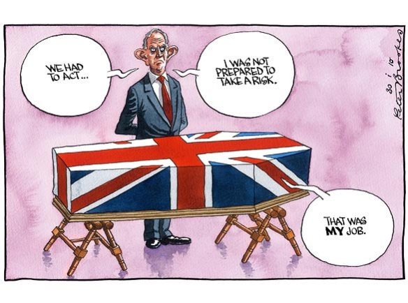 Tony Blair and coffin of soldier who died in the Iraq war, cartoon by Peter Brookes