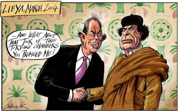 This cartoon by Dave Brown from The Independent depicts Tony Blair shaking Colonel Gaddafi's hand during the now-infamous desert tent meeting in 2004 as Britain tried to bring the dictator 'in from the cold'