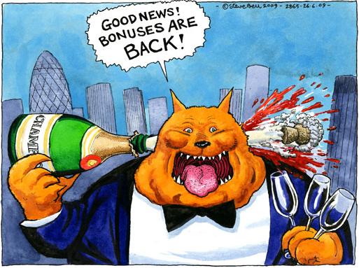Fat cat cartoon by Steve Bell in Britain