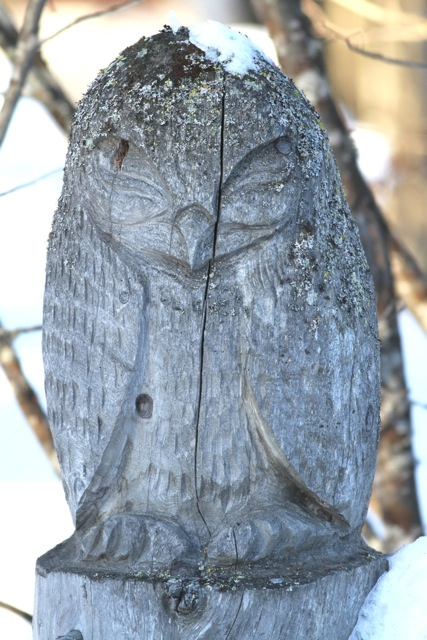Owl sculpture in Hannu Hautala's garden, on 14 March 2014