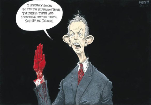 Tony Blair and the truth on the Iraq war, cartoon