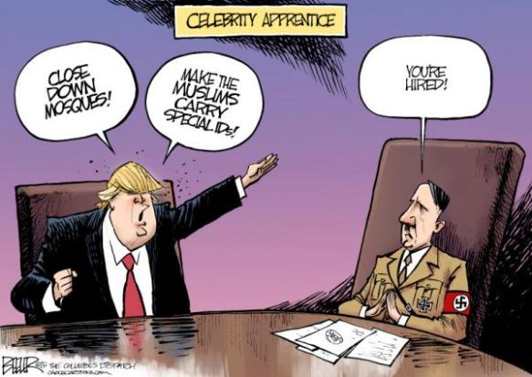 Donald Trump and Adolf Hitler. This cartoon alludes to Trump's TV show The Apprentice