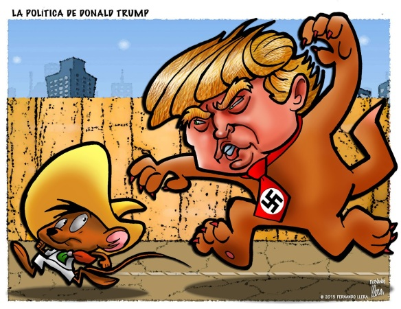 Trump and Speedy Gonzales, cartoon