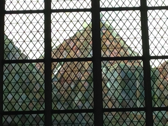 Buildings through Hooglandse kerk windows, 10 September 2016
