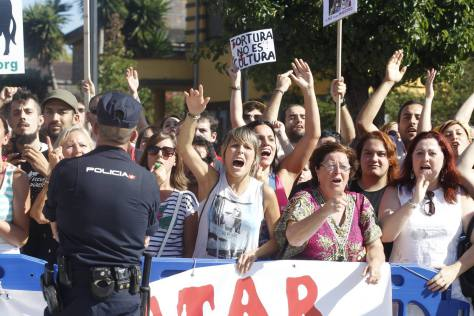 brave anti bull torture demonstrators