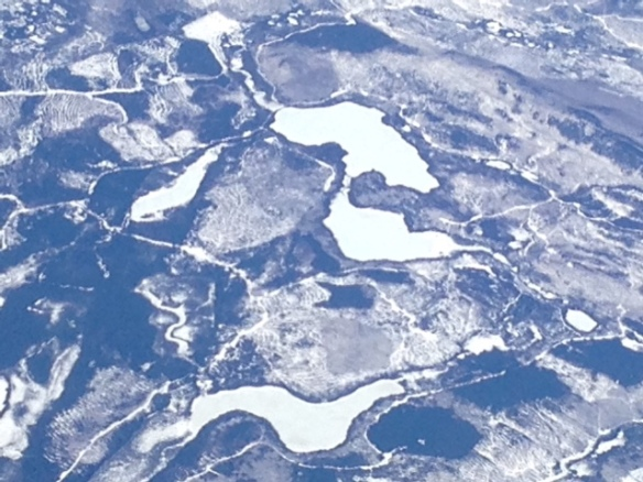 Frozen lakes and snow in Canada