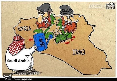 Saudi money to ISIS, cartoon