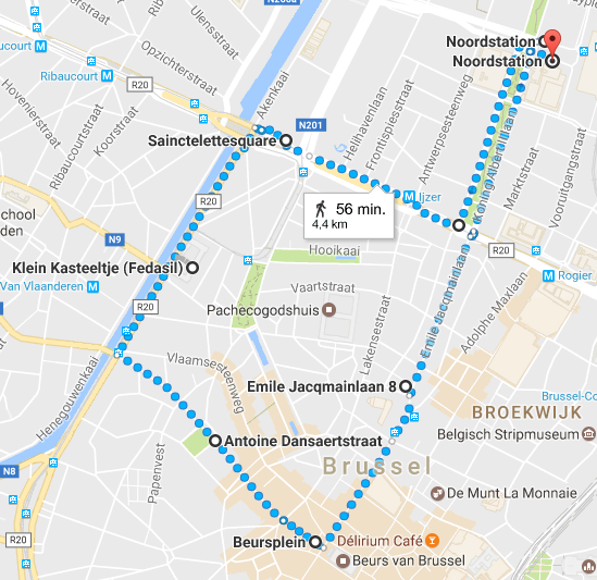 Brussels demonstration route